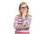 Adorable child in glasses thinking isolated on white