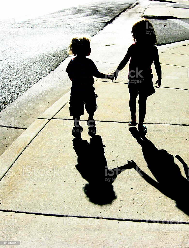 Adorable Children Silhouette royalty-free stock photo