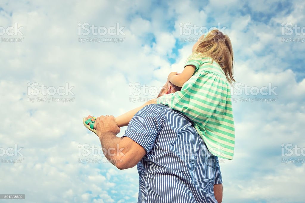 Adorable daughter and father portrait, happy family, future concept stock photo