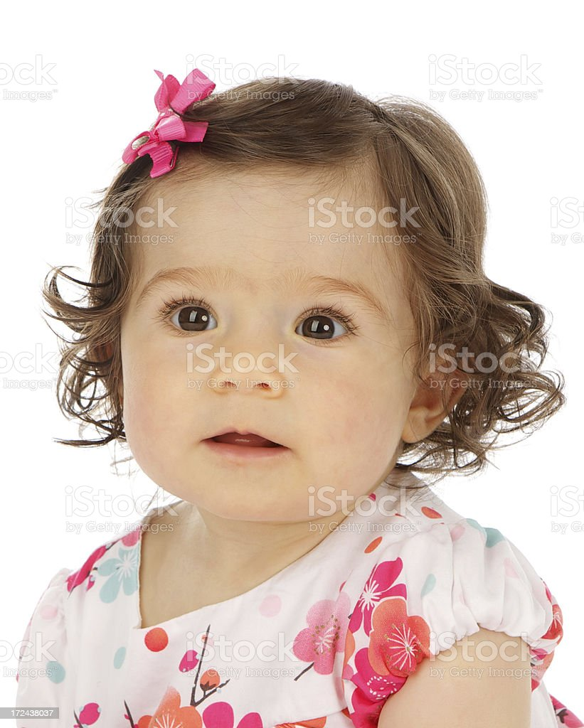 Adorable Eight Month Old Baby Girl on White Background royalty-free stock photo