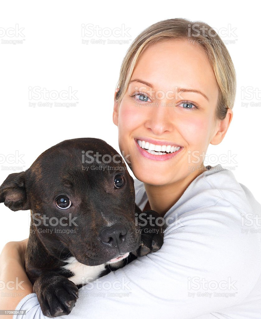 Adorable friends, girl and her puppy royalty-free stock photo
