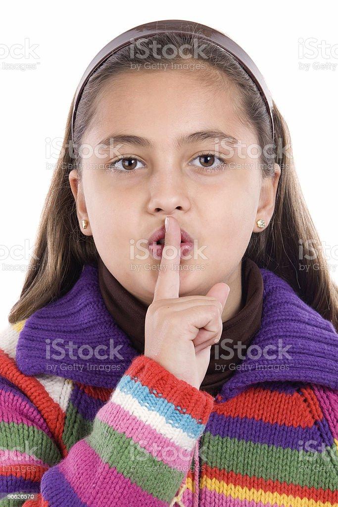 Adorable girl ordering silence stock photo