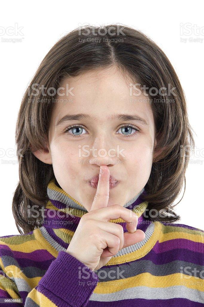 Adorable girl ordering silence royalty-free stock photo
