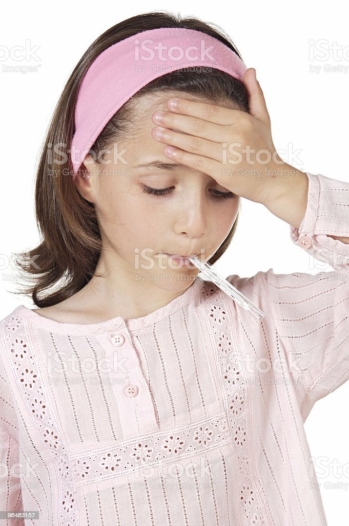 adorable girl whit thermometer royalty-free stock photo