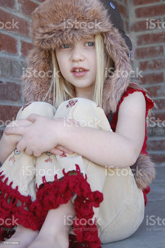 Adorable girl with a hat royalty-free stock photo