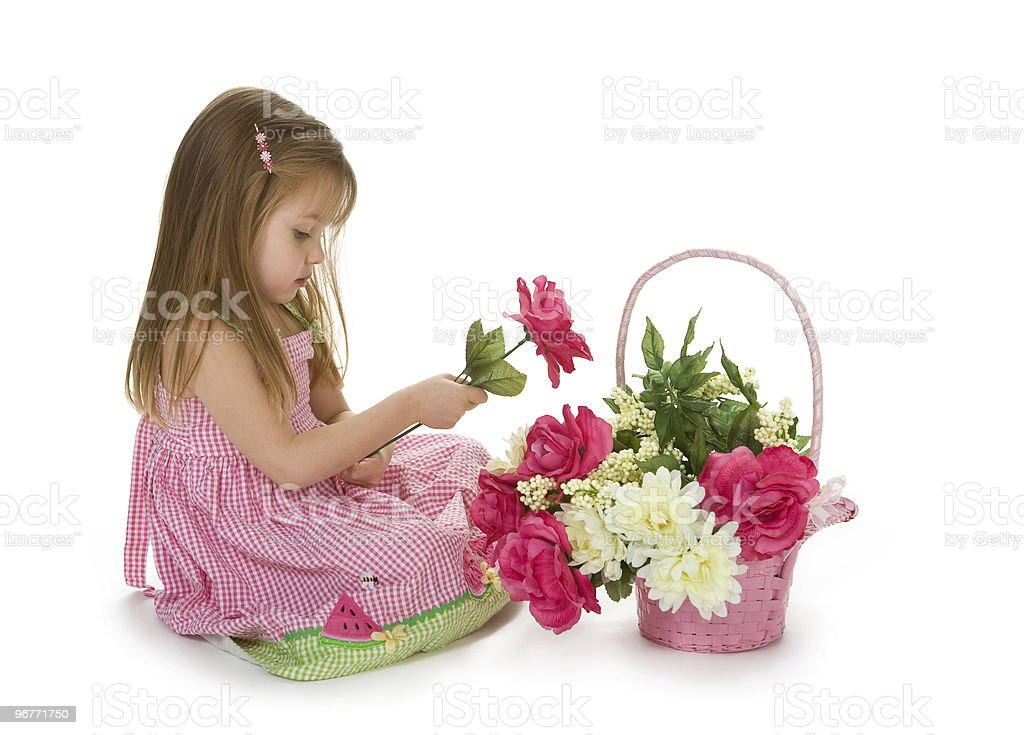 Adorable Girl With Flowers royalty-free stock photo