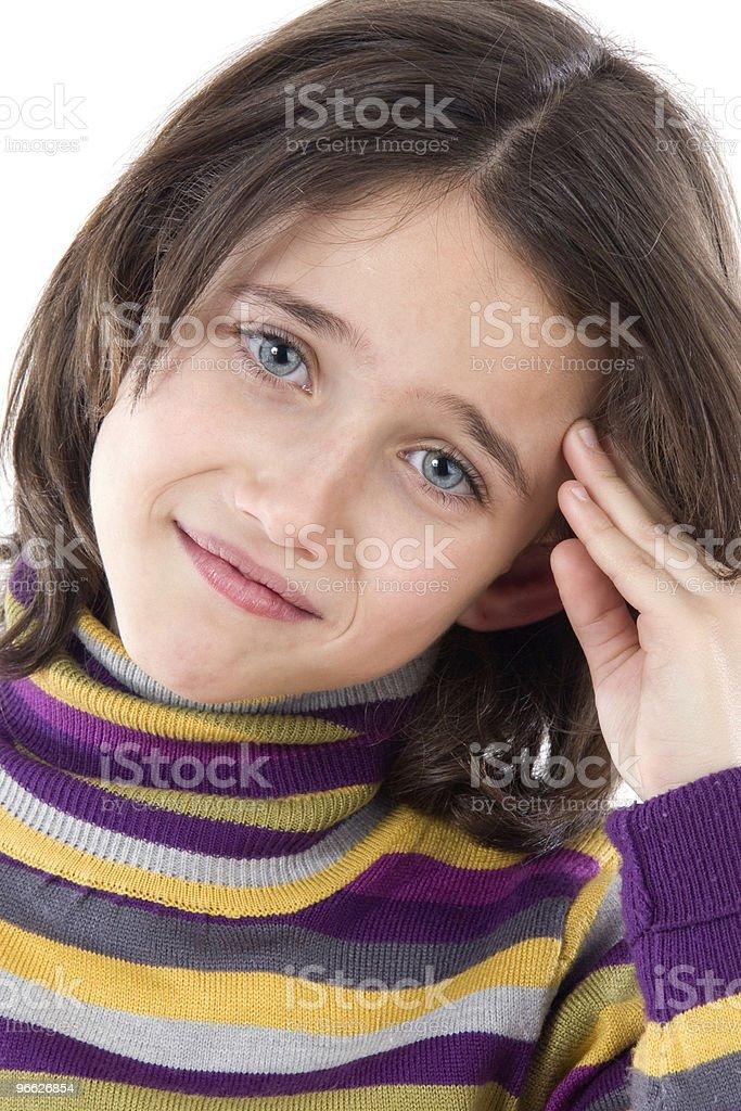 Adorable girl with headache stock photo