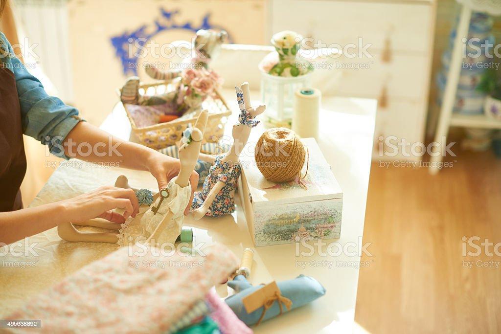 Adorable handmade bunnies stock photo