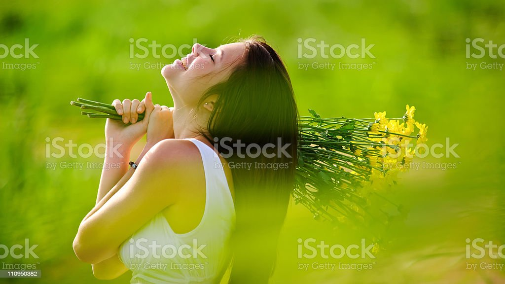 adorable happy summer woman stock photo