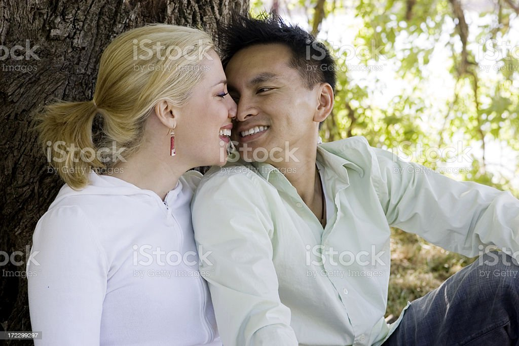 Adorable Interracial Young Couple Rubbing Noses Outside, Copy Space royalty-free stock photo