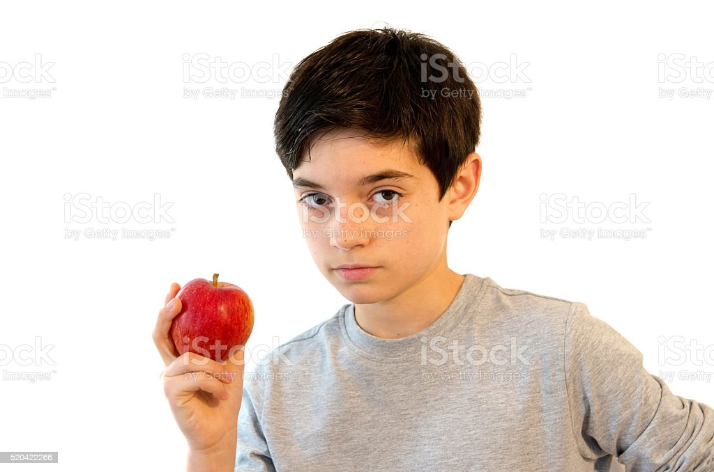Adorable kid eating an Apple royalty-free stock photo