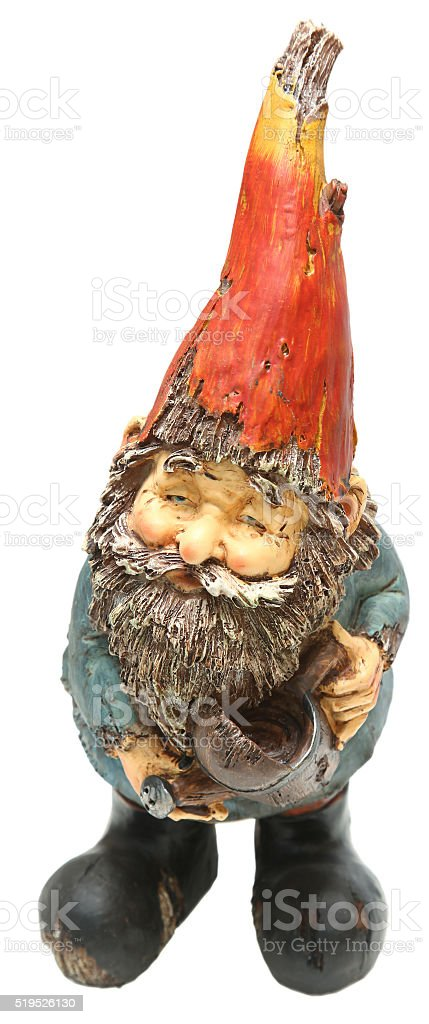 Adorable Lawn and Garden Gnome with Watering Can stock photo