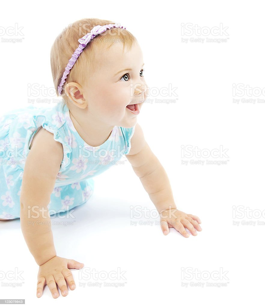 Adorable little baby girl laughing royalty-free stock photo