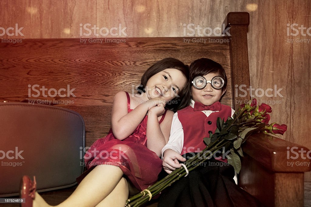 Adorable Little Boy and Girl in Love on Valentines, Copyspace stock photo