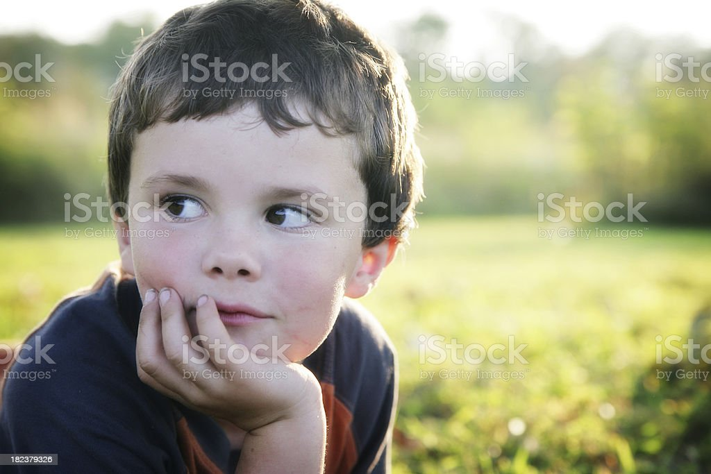 Adorable Little Boy on the Prairie royalty-free stock photo