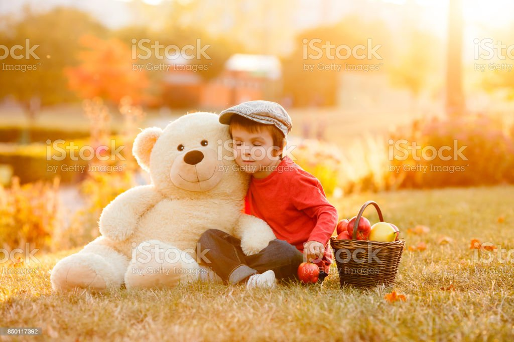 Adorable little boy with his teddy bear friend in the park on sunset stock photo