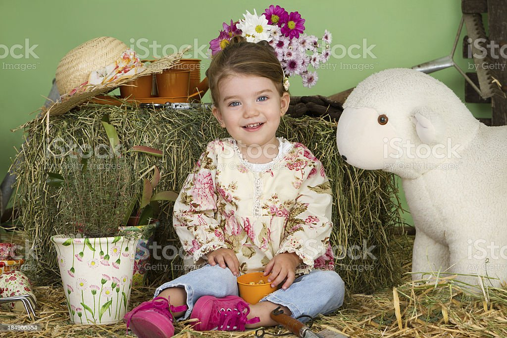 Adorable little farmer royalty-free stock photo