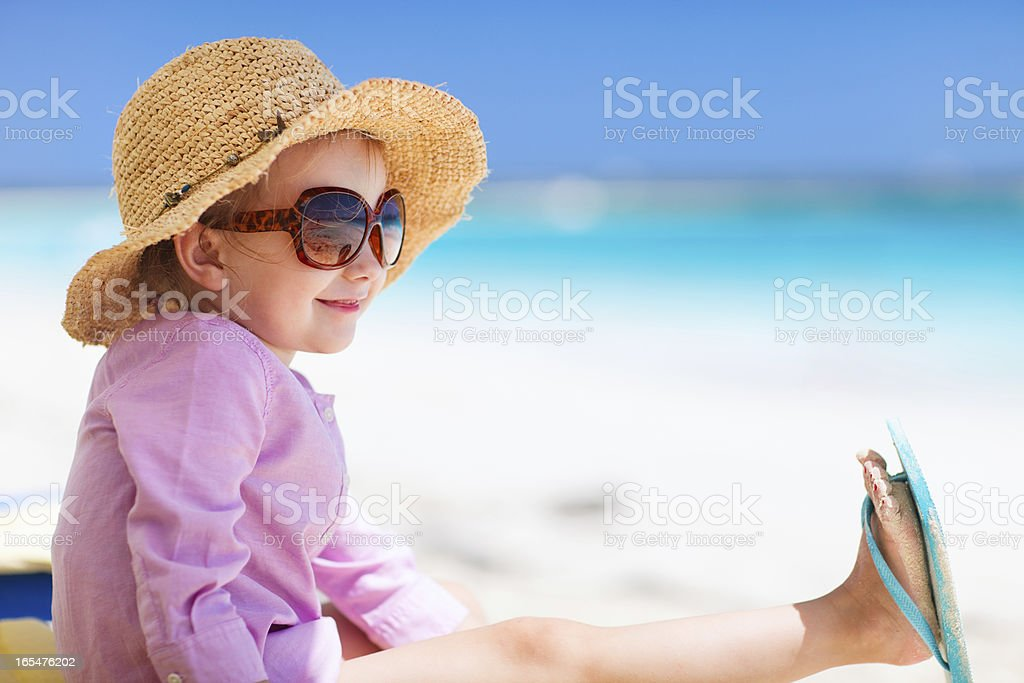 Adorable little girl at beach royalty-free stock photo