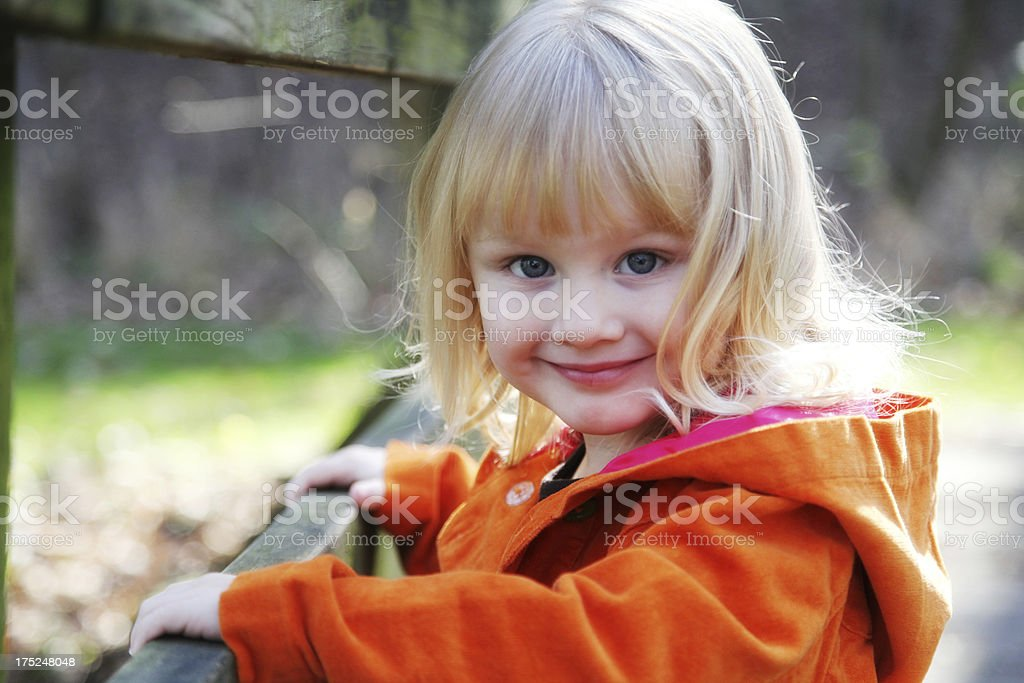 Adorable Little Girl close Up Portrait Outside royalty-free stock photo