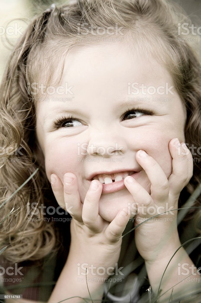 Adorable Little Girl / Colorized stock photo