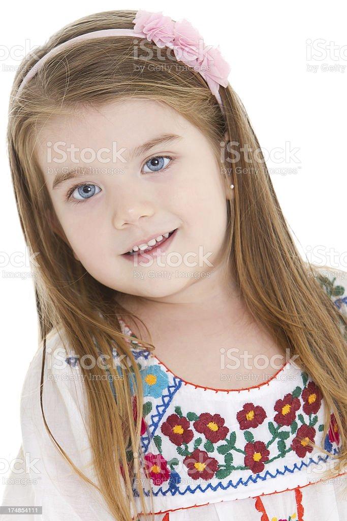 Adorable little girl having fun stock photo