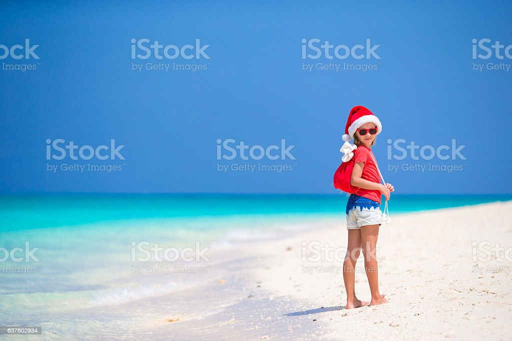 Adorable little girl in Santa hat and a bag with stock photo