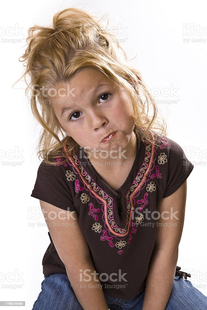 Adorable little girl looking sad royalty-free stock photo