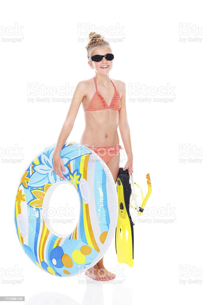 Adorable little girl with snorkeling equipments royalty-free stock photo