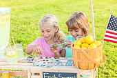 Adorable little girls counting the money they made selling lemonade