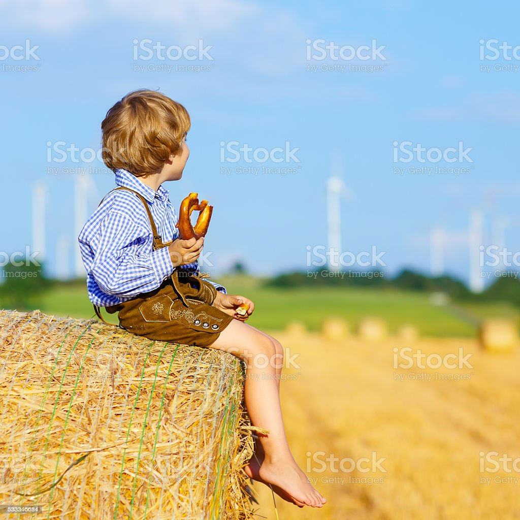 Adorable little kid boy sitting on hay stack or bale stock photo
