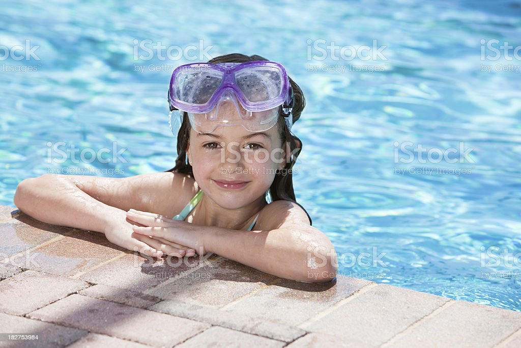 Adorable Little Swimmer Girl by the Pool royalty-free stock photo