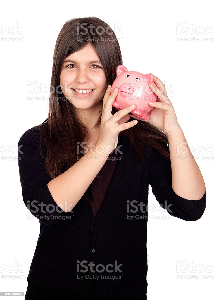 Adorable preteen girl with money box royalty-free stock photo