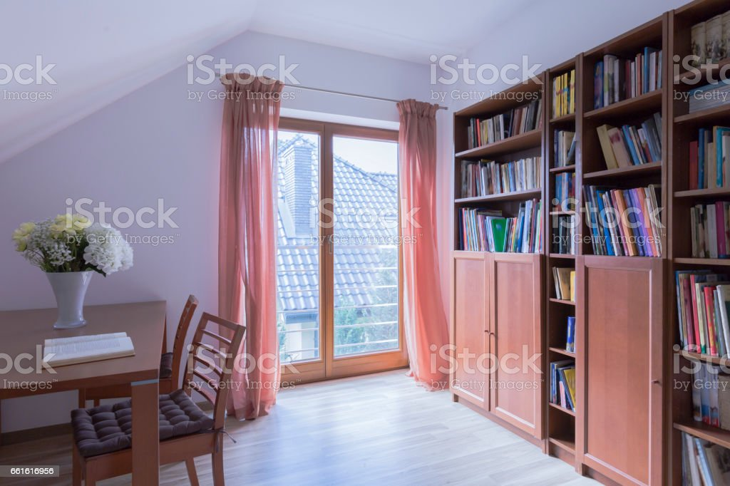 Adorable reading room for book lovers stock photo