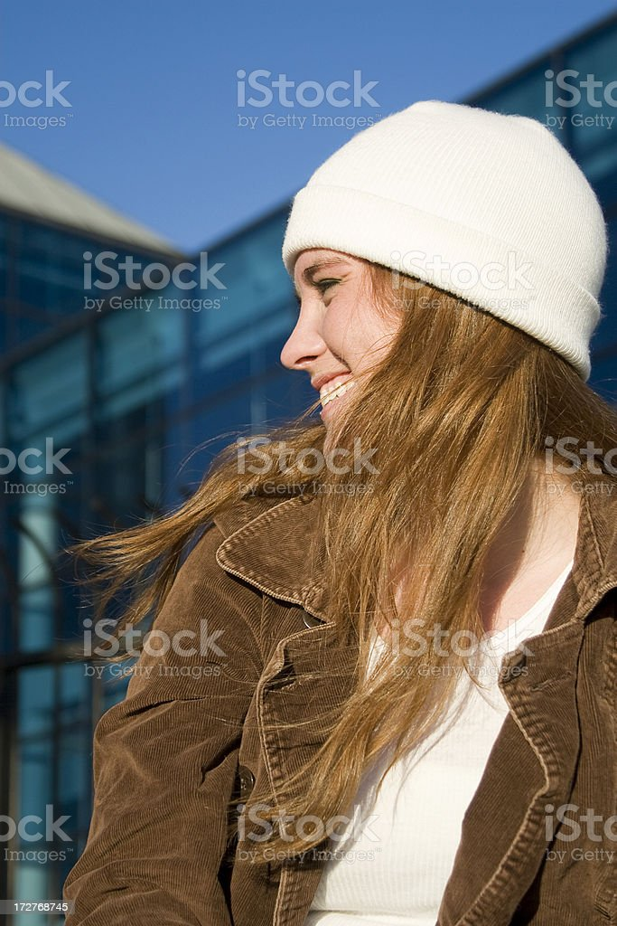 Adorable Redhead Teenage Young Woman Portrait Outside, Windy, Sunny Day stock photo