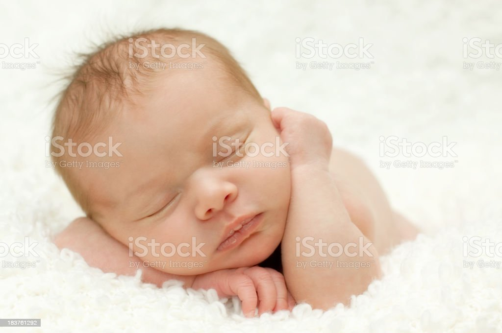 Adorable sleeping newborn baby royalty-free stock photo