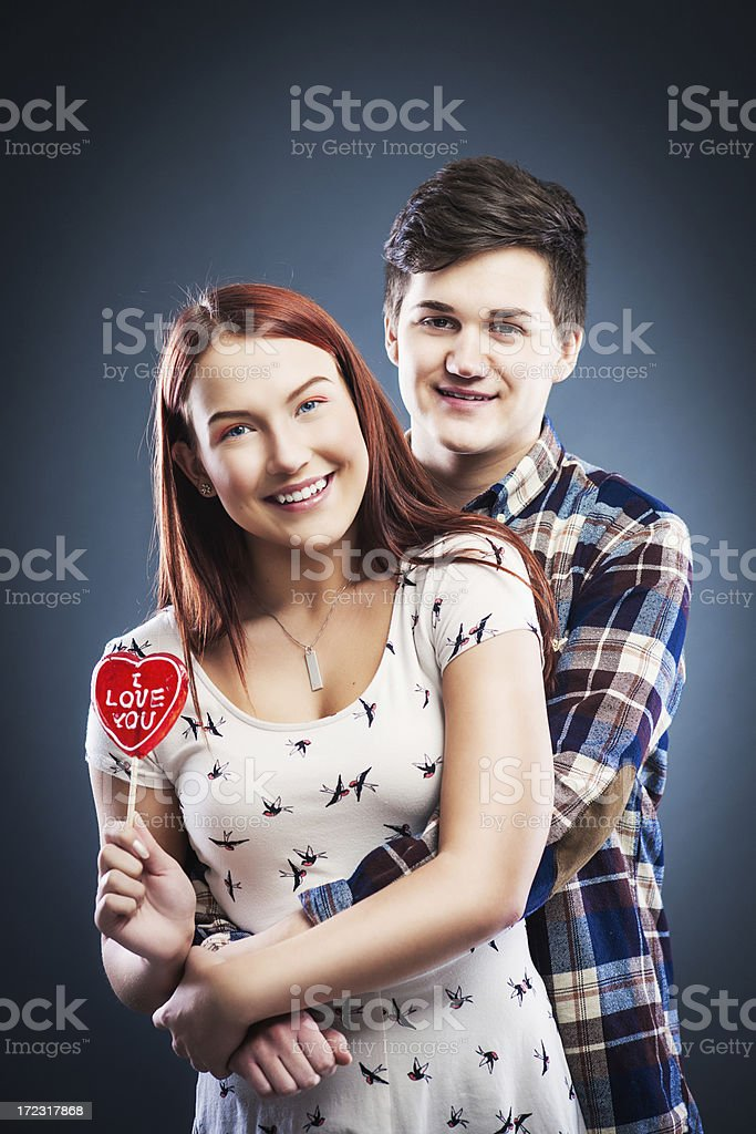 Adorable teenagers in love royalty-free stock photo