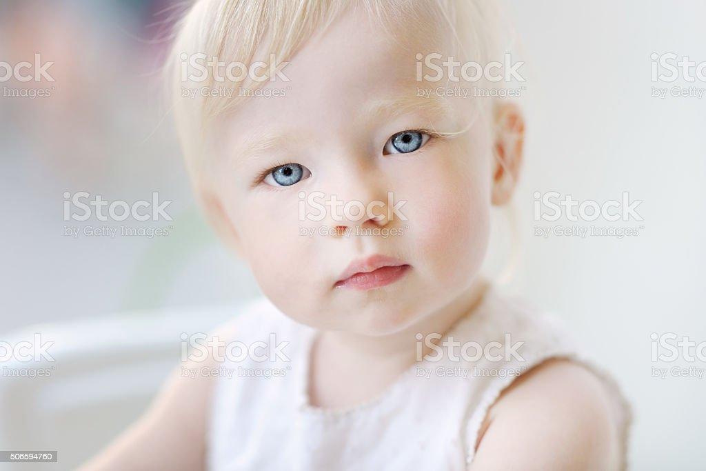 Adorable toddler girl portrait stock photo
