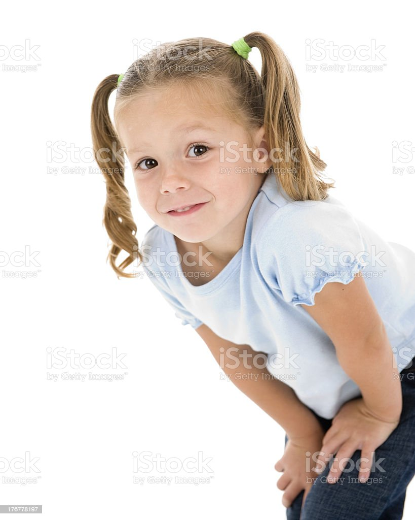 Adorable Young Girl Striking a Pose royalty-free stock photo