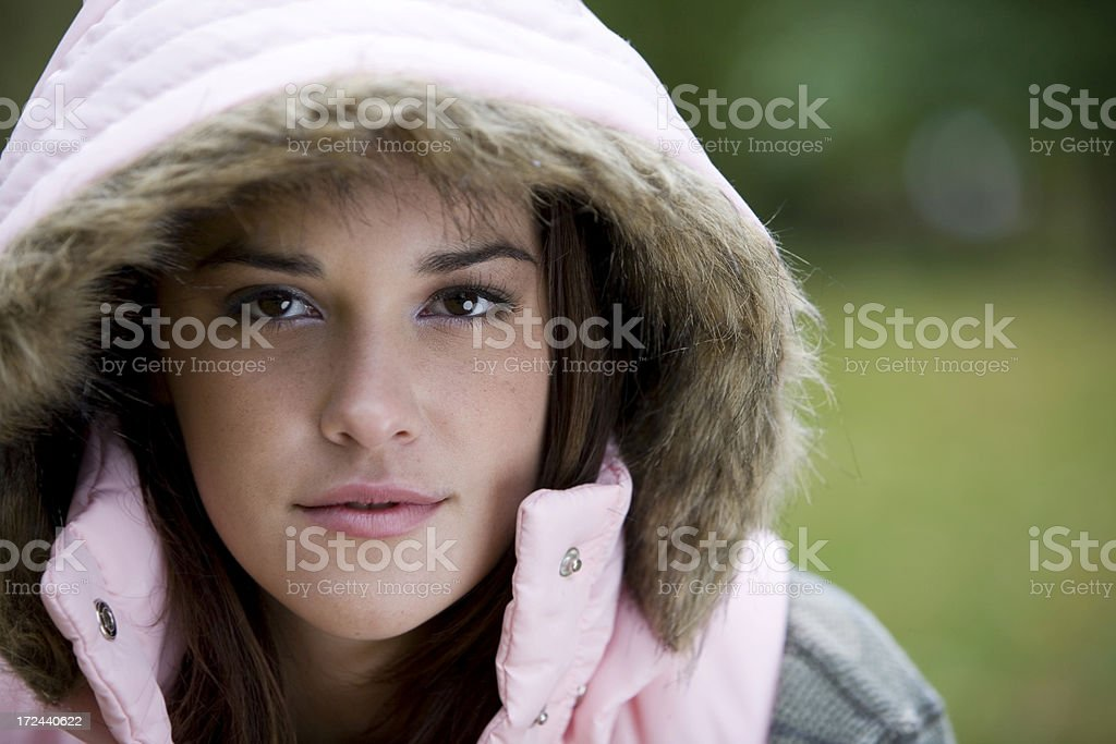Adorable Young Woman Fall Portrait, Close Up, Hooded Jacket, Copyspace royalty-free stock photo