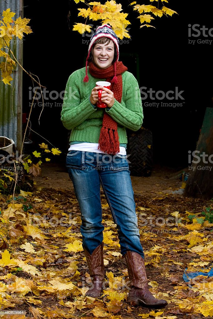 Adorable Young Woman Laughing Outside on Fall Day, Copy Space royalty-free stock photo