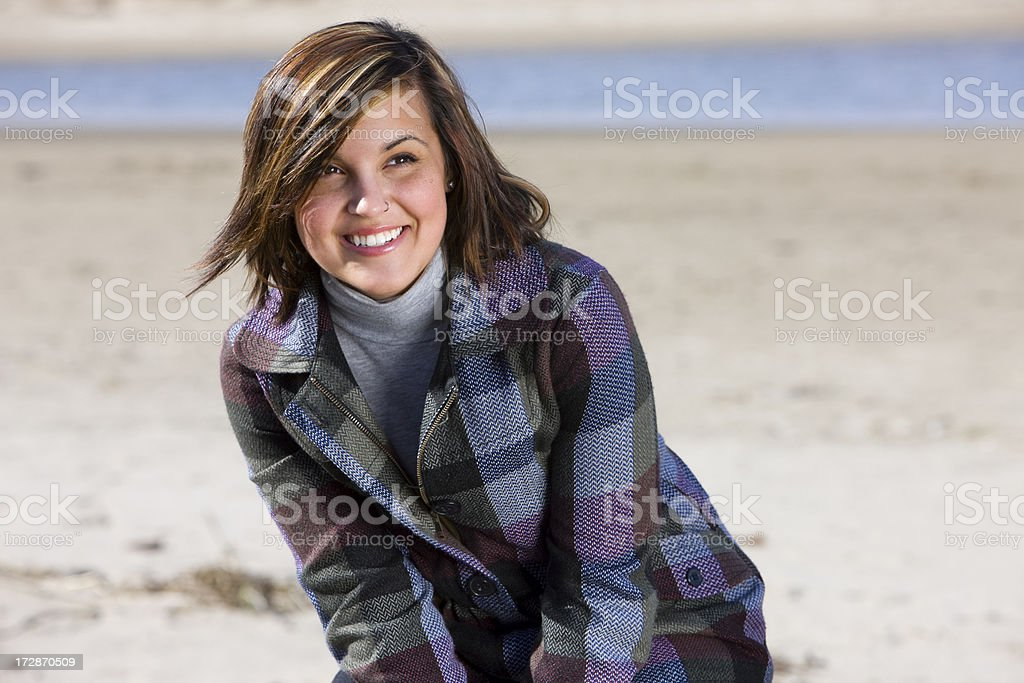 Adorable Young Woman Portrait on Sunny Beach in Fashion Jacket royalty-free stock photo