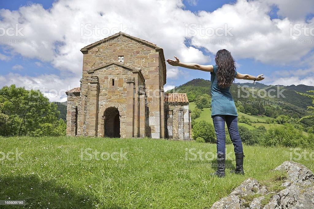 adoring Santa Cristina de Lena church stock photo