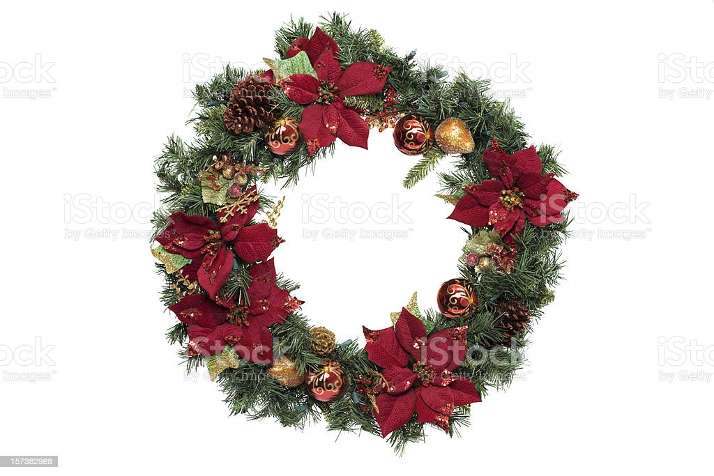Adorned Christmas Wreath with Ornaments, on White, Copy Space royalty-free stock photo