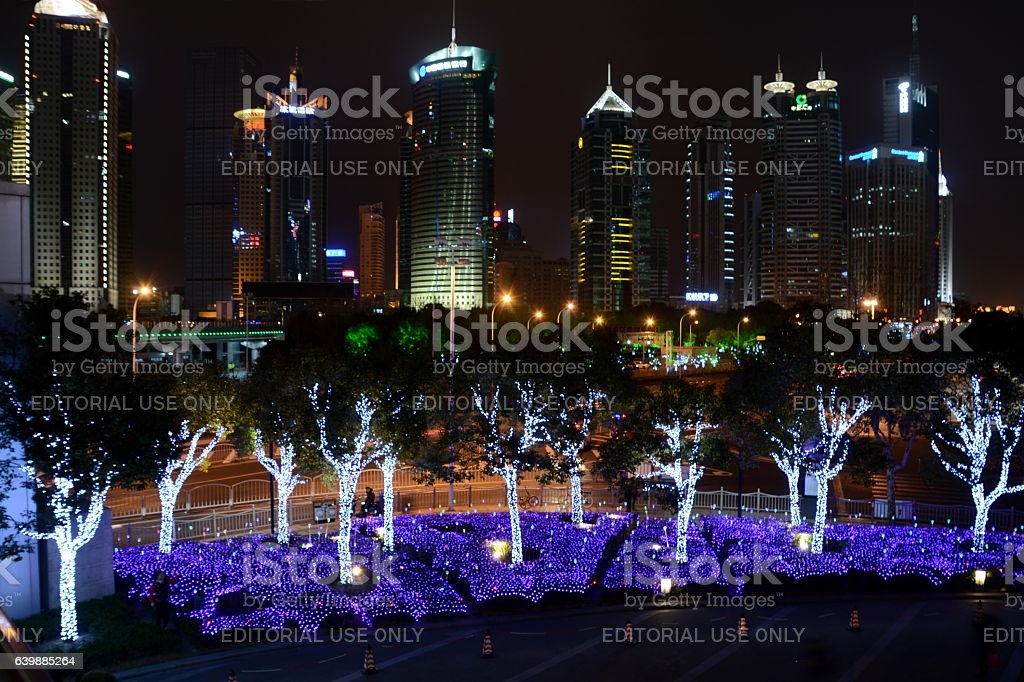 Adorned trees in Lujiazui for 2017 Chinese New Year, Shanghai stock photo