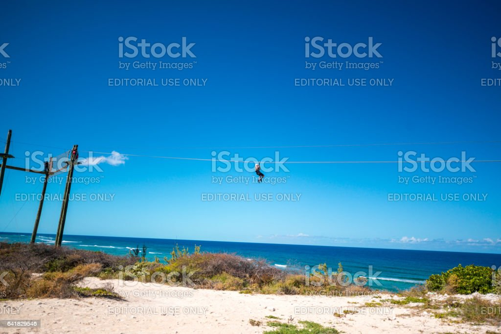 Adrenaline high wire challenge on Grand Turk, Turks and Caicos Islands stock photo