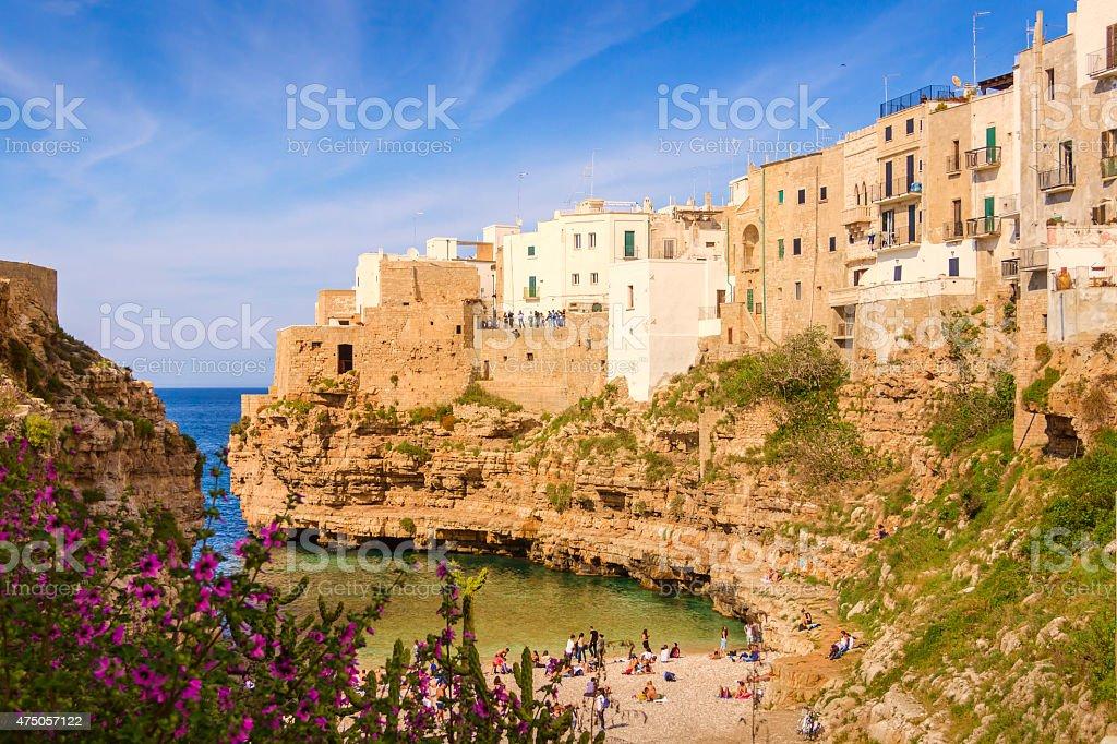 Adriatic coast.Polignano a Mare: 'Cala Porto' beach .-ITALY(Apulia)- stock photo