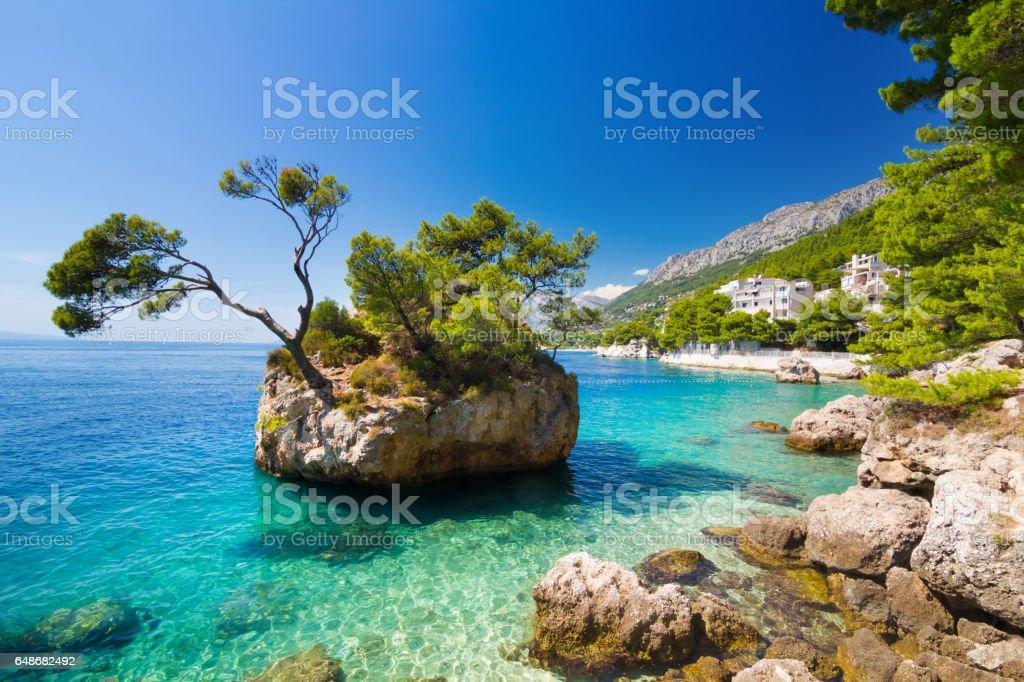 Adriatic sea in Brela on Makarska Riviera stock photo