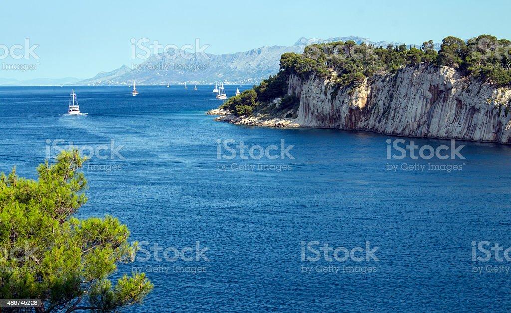 Adriatic sea in Croatia, Makarska town. stock photo