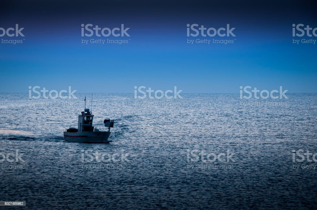 Adriatic Sea morning fishing stock photo