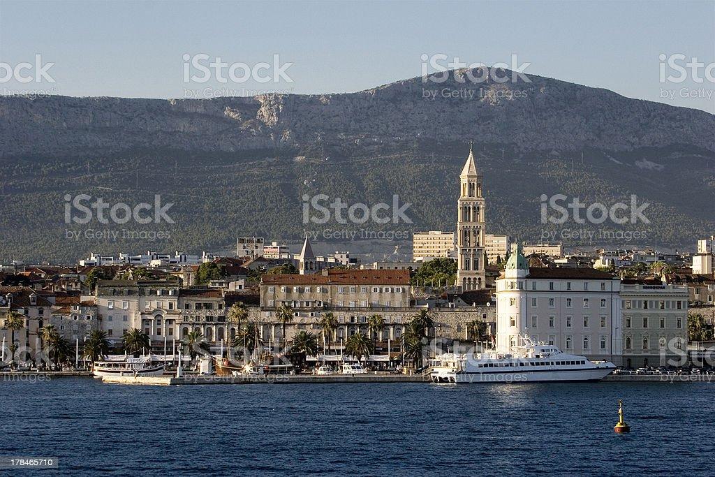 Adriatic sea, Split old town and mountain Kozjak stock photo